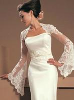 champagner fur bolero groihandel-2020 Vintage-Juliet mit langen Ärmeln Spitze, die Braut Jacken Bolero-Tulle Günstige Hochzeit Wrap für Hochzeits-Kleid plus Größe