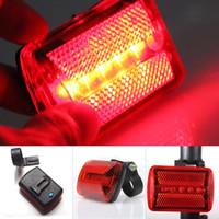 luz de segurança intermitente led vermelha venda por atacado-Nova Chegada Da Bicicleta Da Bicicleta Quente 5 DIODO EMISSOR de Luz Da Cauda Traseira Da Bicicleta Da Bicicleta Luzes de Luz de Advertência de Segurança de Luz de Trás Vermelho # 148403