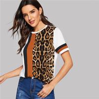 camisa de manga leopardo blanco al por mayor-Color bloque de corte y confección panel superior del leopardo de manga corta del O-Cuello T informal camisa de las mujeres del ocio del verano 2019 tapas de la camiseta
