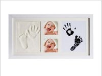 Wholesale european country kitchens for sale - Group buy Baby Hand and Footprint Ink and mud Handprint mud Suit Baby Hand and Foot Print Oil Photo Frame Solid wood photo frame