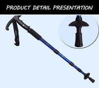 kamera frekansı toptan satış-Hafif Trekking Pole 4 Bölümler T Kol Alüminyum 50-110 Cm alpenstock Baston Yürüyüş Treking Camp moda