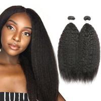 Wholesale human hair weave pcs for sale - Group buy Kinky Straight Human Hair Bundles Kinky Straight Malaysian Hair Weaving Inch Unprocessed Virgin Human Hair Extensions