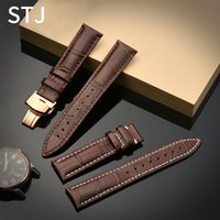 наручные часы кожа оптовых-STJ  Calf Genuine Leather Black Watch Band Strap for Watchband size 18mm 19mm 20mm 21mm 22mm 24mm Watch wristband Bracelet