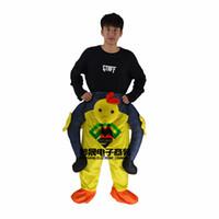 ingrosso costumi da cartone animato-Pollo giallo posteriore persone protesi gamba mascotte cute cartoon mascotte costume fabbrica di abbigliamento personalizzato personalizzato passeggiate a piedi vacanze