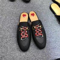 inek sandalet toptan satış-Klasik Tasarımcı Metal Tokalı Plaj Terlik Yumuşak Dana Loafer Yumuşak Deri Karikatür Yarım Terlik Moda Lüks Bayanlar Sandalet Üzerinde Kayma