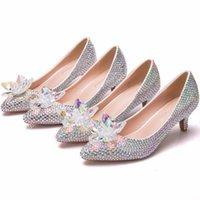 beyaz kedi yavrusu düğün ayakkabıları topuklar toptan satış-Lüks düğün ayakkabı beyaz rhinestone gelin ayakkabı pompalar küçük Yavru topuk kadın parti ayakkabı yüksek topuklu ...