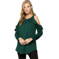 ingrosso camicie di loto-T-shirt da spalla a maniche lunghe con maniche lunghe Lotus Leaf Edge