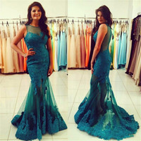 Dress Evening Vestidos De Noche Largos Elegantes 2019 Illusion Lace Appliques Long Elegant Prom Dresses Mermaid Free Shipping