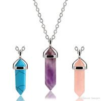 quarz rose reiki großhandel-Sechseckiges Prisma Rosenquarz Punkt Halskette Draht gewickelt Heilkristalle Lila Chakra Stein Power Healing Reiki Halsketten