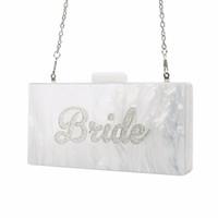 блестящие серебряные сумочки оптовых-Pearl White с Silver Glitter Имя невесты Акриловые Box клатчи Сумки женские вечерние сумочки Мода ручной хлопков Бич сцепления