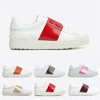 zapatos abiertos para los hombres al por mayor-Diseñador de lujo abierto clásico zapatos casuales hombres mujeres marca remaches pisos tejer remiendo tachonado tenis entrenadores zapatos tamaño 36-45