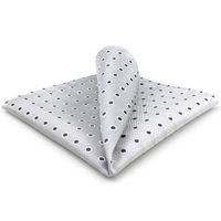 AH21 Light Gray Black Polka Dots Mens Pocket Square Silk Fashion Hanky Classic Dress Handkerchief