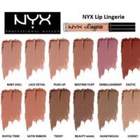 nyx lip lingerie al por mayor-Marca NYX lencería líquido líquido Lápiz labial Nude impermeable brillo de labios maquillaje cosméticos fiesta regalo 12 colores dropshipping En stock