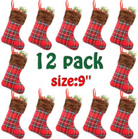 Wholesale children christmas gift bags resale online - 12PCS Pack Christmas Stocking Xmas Tree Ornament For Home Party Wedding Decoration Pendant Children Christmas Gift Bag Candy Bags