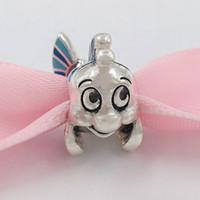 encantos de sirena de plata al por mayor-Auténticos 925 Sterling Silver Beads Disnny encantos La Sirenita Lenguado encanto se adapta al estilo europeo joyería de Pandora collar de las pulseras
