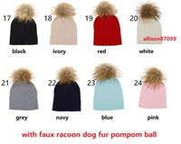 Wholesale cream baby pink for sale - Group buy 2018 INS Boutique Baby Beanies Kids Rib knit hats Bonnet with fur pompom Faux fox fur raccoon dog fur designs Cotton Hotsale