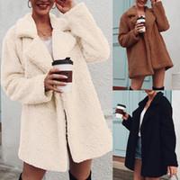 Loose Lapel Long Coats Winter Warm Fleece Fur Jacket Turn-Down Collar Outerwear Plus Size Plush Fluffy Teddy Coats S-3XL