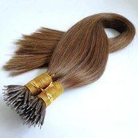 preços de extensões de cabelo preto venda por atacado-Elibess Reta mongol Nano Anel Extensões de Cabelo 0.8g s 200g pack Preços Promocionais color jet black 99J brown Extensões de cabelo