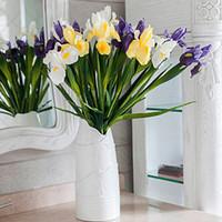 vase de fleurs toucher réel achat en gros de-Artificielle PU Fleur De Mariée Real Touch Iris Irlande Fleur pour la Fête De Mariage Banquet Décoration de La Maison Euro DIY DIY arrangement de fleurs Vase Déco