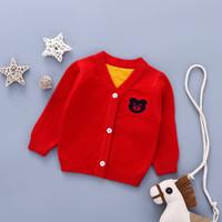 ingrosso maglione maglione dei capretti dei capretti-Cute Animal Boys Cardigan Neonate Vestiti Boy Cotton Solid Bear Maglioni a maniche lunghe Kids Casual Knitted Baby Coat Sweater
