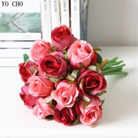 gelin düğün buketi mor toptan satış-Gül Toptan ucuz sahte yapay gelin buketi mor gül düğün çiçek parti dekorasyon kırmızı ipek güller düğün çiçek