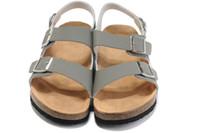 zapatillas de corcho de hombre al por mayor-2019 hot new boken men shoes zapatos de mujer de cuero zapatillas de corcho doble botonadura amantes zapatillas tamaño: 36-46