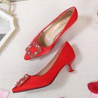 zapatos de boda de diamantes de imitación de china al por mayor-Estilo chino rhinestone hebilla zapatos de tacón de aguja zapatos de boda puntiagudos