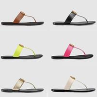 sandálias brancas para mulheres venda por atacado-Designer de luxo slides Mulheres chinelos De Couro Mulheres sandália com Duplo Metal Preto Branco Marrom chinelos Sandálias de Praia de Verão com BOX US11