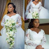 Wholesale exquisite brides wedding dresses resale online - plus size wedding dress With Long Sleeve Lace Appliuqes White Tulle Exquisite mariage Bride Dress Wedding Gowns vestido de noiva