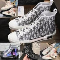 b c sütyen toptan satış-Çiçekler Teknik Tuval B23 Yüksek Üst Sneakers Eğik Erkek Lüks Tasarımcı Ayakkabı Bayan Moda B22 B23 B24 B01 B02 Sneakers Ayakkabı Çizmeler