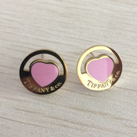 jóias brincos de aço 316l venda por atacado-Meninas marca titanium aço 316l rosa brinco com super bonito coração de sorte para as mulheres presente de natal preço de fábrica de jóias frete grátis