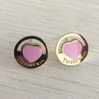 ingrosso regalo di rosa dentellare-Orecchino di titanio rosa d'acciaio di titanio della marca 316L delle ragazze con il cuore fortunato sveglio eccellente per il prezzo di fabbrica dei gioielli del regalo di natale delle donne Trasporto libero