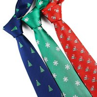 Wholesale christmas neckties for men resale online - Red Christmas Tie cm Snowman Ties For Christmas Day Men s Blue Green Tree Necktie Santa Claus Neck Tie Slim