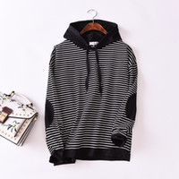 Wholesale women korean sweaters hoodies for sale - Group buy 2019 new women s hooded sweater Korean version of the ladies striped hoodie sleeves patch college wind a generation