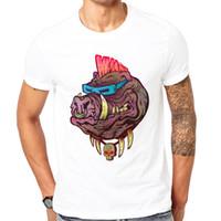 дизайн панк-майка оптовых-Популярная мода Мужские Топы летом последние печатные дизайн Punk Hog футболки новинка забавная рубашка Топы можно настроить