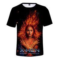 traje x phoenix hombres al por mayor-X-Men Phoenix negro manga corta X-Men: Dark Phoenix camiseta de la película europea y americana Cos traje de verano