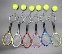 Wholesale sports car charm resale online - Mini Tennis Racket Keychain Key Ring Cute Sport Charm Tennis Ball Key Chain Car Bag Pendant Keyring Gifts