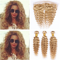 Wholesale brazilian deep curly blonde human hair for sale - Group buy Brazilian Human Hair Honey Blonde Deep Wave Curly Weaves with Frontal Bundles Blonde Deep Wavy Wefts with x4 Lace Frontal Closure