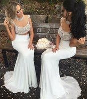 Wholesale see through bridesmaid gowns for sale - Group buy Pearls White Two Pieces Mermaid Bridesmaid Dresses See Through Sweep Train Chiffon Major Beading Arabic Garden Country Wedding Guest Gowns