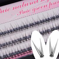 Wholesale eyelash flares resale online - 1 Box mm Natural Long Individual Flare Lashes fishtail Cluster False Eyelashes Handmade Eye Lash Craft Handmade Eyes Makeup