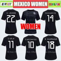 mexico jersey girls al por mayor-Camiseta mujer Jersey 2019 México Inicio Jerseys de fútbol negros Copa de oro Chica 19/20 COPA AMERICA CHICHARITO Camisetas de futbol LOZANO VELA RAUL Camisetas