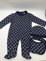 Wholesale months baby clothes set for sale - Group buy Baby Boys Girl Winter Rompers Jumpsuit Cotton Tops Hat Bib Outfit Clothes Set Newborn Toddler Kids Cotton Clothes Months