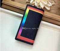 Wholesale original cell phone box for sale – best designer wallet luxury wallet colorful rainbow lady wallet top quality designer purse Card holder original box women classic zipper three