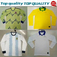 0dd9e2bb93d 2019 Long Sleeves Copa América Columbia home JAMES shirt 19 20 Argentina  Home MESSI Brazi Yellow White football adult jerseys On Sale