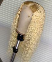 unbearbeitete seidenspitze vorne perücken großhandel-100% unverarbeitete weiche neue remy jungfrau menschliches haar # 613 lange wasser welle volle spitze seidentop perücke für frauen