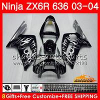 98 обтекателей zx6r оптовых-Корпус Для KAWASAKI NINJA ZX600 ZX636 ZX-6R 03 04 Серебристый огонь ZX-636 36HC.98 ZX 636 6 R 600CC ZX6R 03 04 ZX 600 ZX 6R 2003 2004 Обтекатель