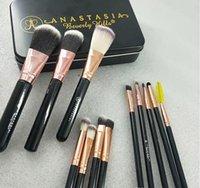 pó de rosto solto rosa venda por atacado-12pcs M AC Marca High Tech pincéis de maquiagem Conjuntos Kit 8colors Make Up Brush Set com caixa de metal Embalagens