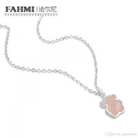 Wholesale bear quartz resale online - FAHMI Sterling SilverFaceted Rose Quartz Pink Bear Pendant Necklace Original Women s Jewelry