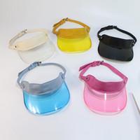 ingrosso cappello di protezione solare di plastica-Le donne di modo UV Visiera di plastica di Sun cappelli all'aperto protezione di cappello di Snapback di protezione solare del cappello della protezione solare 10pcs / lot