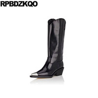 c9a3130c075 fall boots pointed toe metal knee high quality heel wide calf big size  black luxury brand shoes women genuine leather 10 chunky